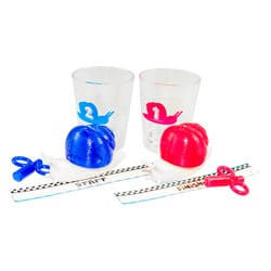 Racing snails and shot glasses with start and finish line markers