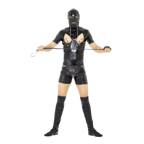 A man wearing a gimp costume for his stag night, holding a whip