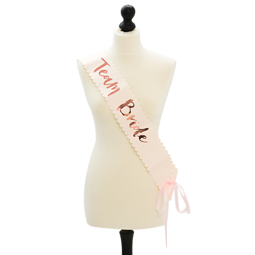 Rose gold team bride sash