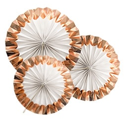 Three fans with rose gold foil tips spread out