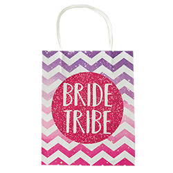 A purple and pink Bride Tribe bag laid out flat