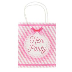 A pink and white hen party bag from the front