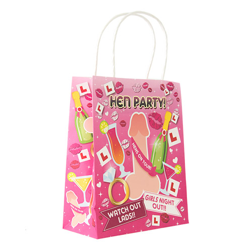 The colourful Willy Design Hens on Tour Gift Bag standing upright