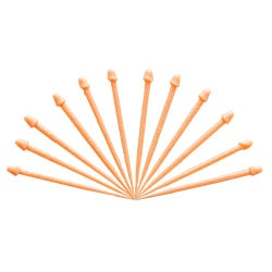 12 willy toothpicks fanned out against a white background