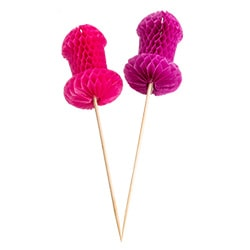 One purple and one pink cocktail stick with willies on the end
