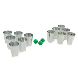 Beer pong set, including 12 silver cups and 3 green balls.