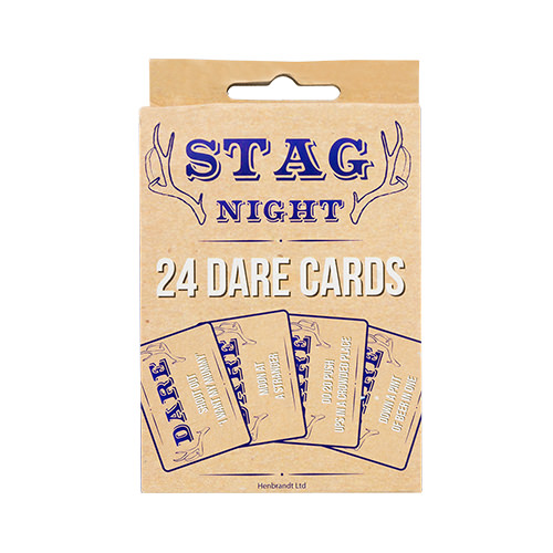 Front of a packet of stag night dare cards