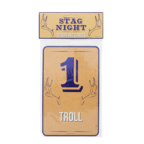 Stag night rating cards in their packaging