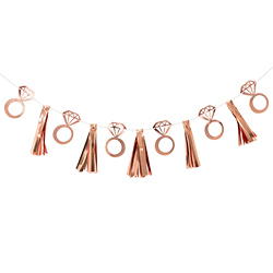 Rose gold bunting hanging up