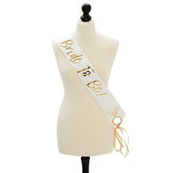 Bride to be sash on a mannequin