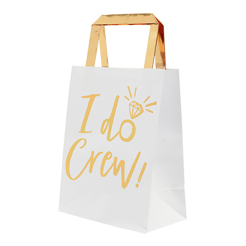 White gift bags with gold foil design