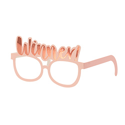 Winner glasses in pink with rose gold writing.