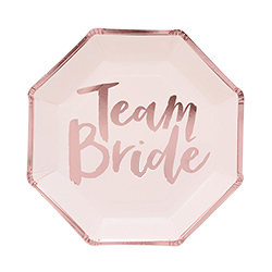 Rose gold team bride plates