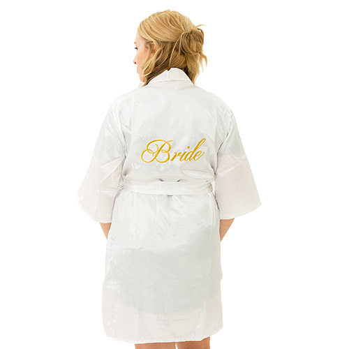 Bride to be kimono with gold writing.