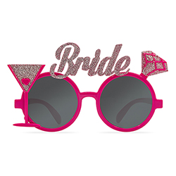 Glittery pink bride glasses from the front