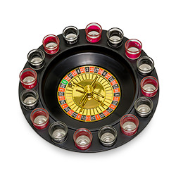 A tray of shots in the shape of a roulette wheel