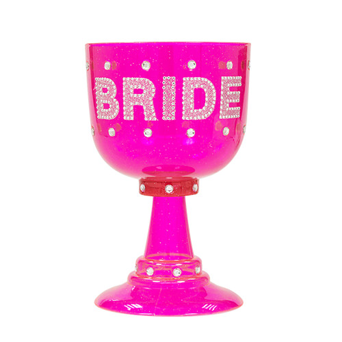 Pink Bride goblet with diamante design