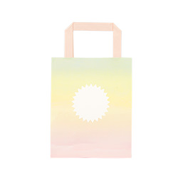 A pastel coloured gift bag front the front