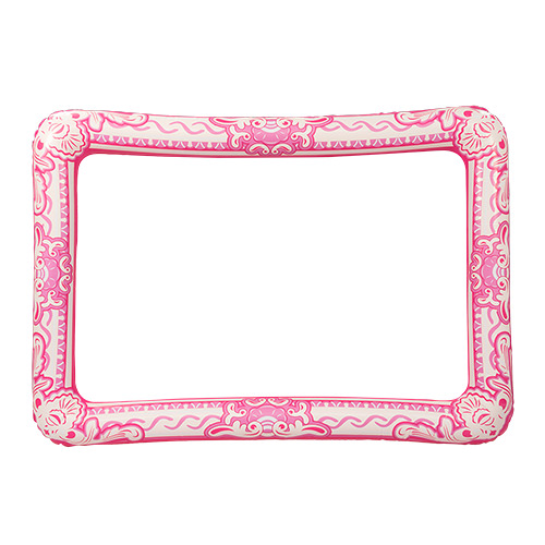Bright pink, ornate, inflatable selfie frame