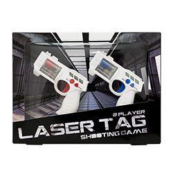 Two laser guns on keyrings in their packaging