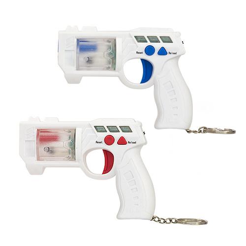 Two laser guns on keyrings