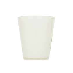 The plastic cup against a white background.