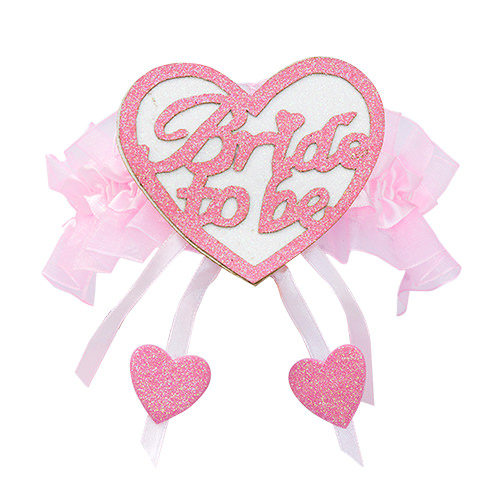 Bride to Be pink heart on a garter