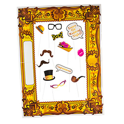 All 12 hen party props laid out in the frame