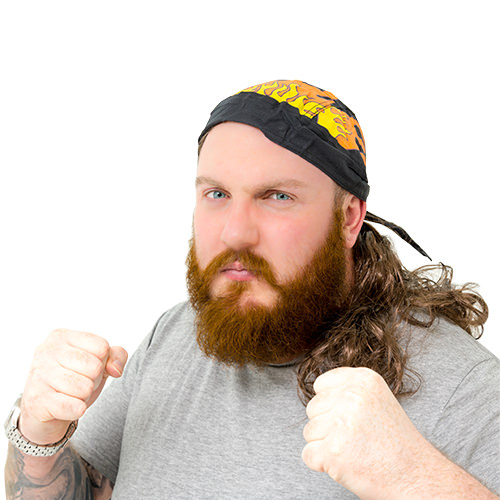 A man wearing a mullet with flame bandana attached