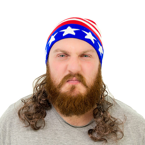 A beanie hat with an attached mullet.