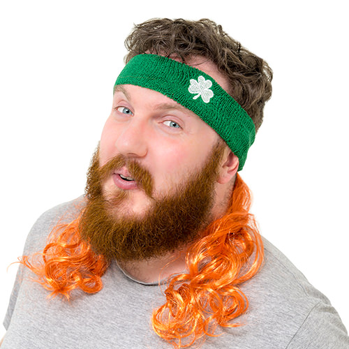Irish mullet being worn by a ginger bearded man