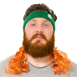 A man wearing a green sweatband with a ginger Irish mullet attached