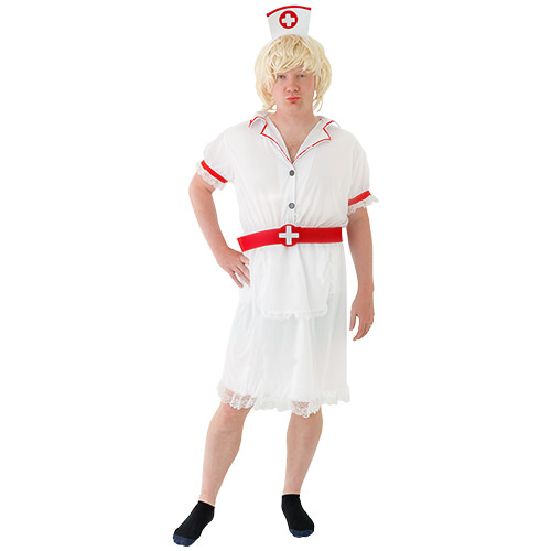 A white and red nurse costume.
