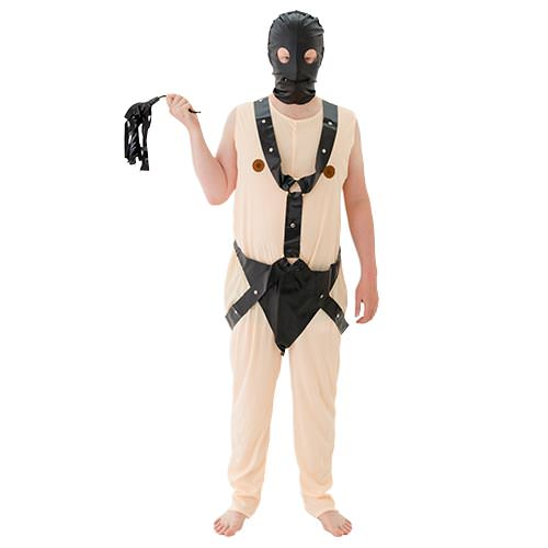 The costume comes with a mask and whip.