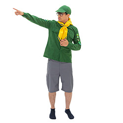The outfit comes with the green top, green hat and yellow scarf.