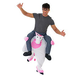 The pink and white unicorn is carrying the model.