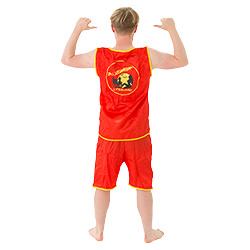 The back of the lifeguard outfit.