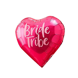 Bright pink bride tribe heart shaped balloon.