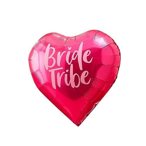 A red heart balloon with bride tribe design.
