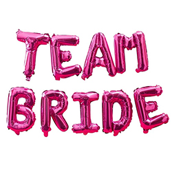Hot pink foil team bride balloons