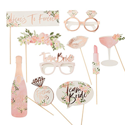 A pack of ten photo props, all with a floral and rose gold theme.