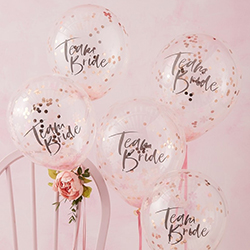 Pack of five, 12 inch confetti balloons.