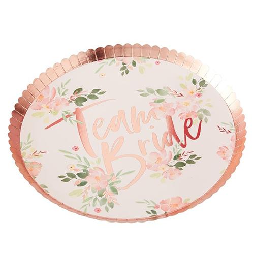 Team bride paper plates.