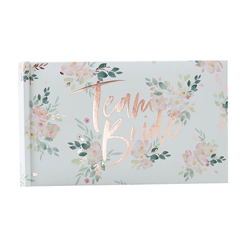 The floral Team Bride photo album.