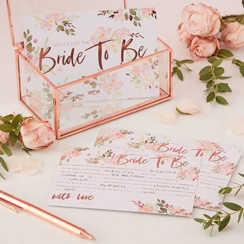 Floral design bride to be advice cards.