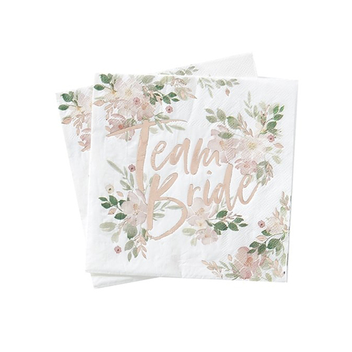 Floral design team bride napkins on a white background.