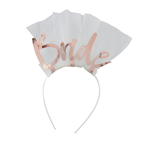 Rose gold bride headband with veil and rose gold lettering
