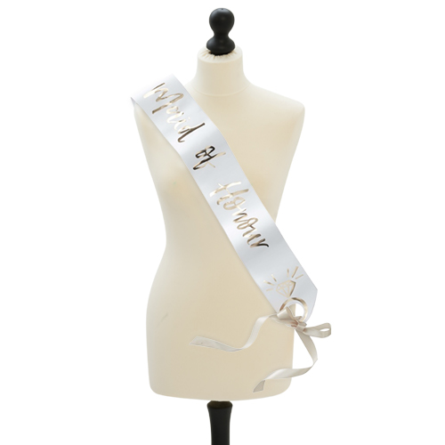 Maid of honour sash on a mannequin