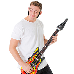 Modeled along with an inflatable guitar