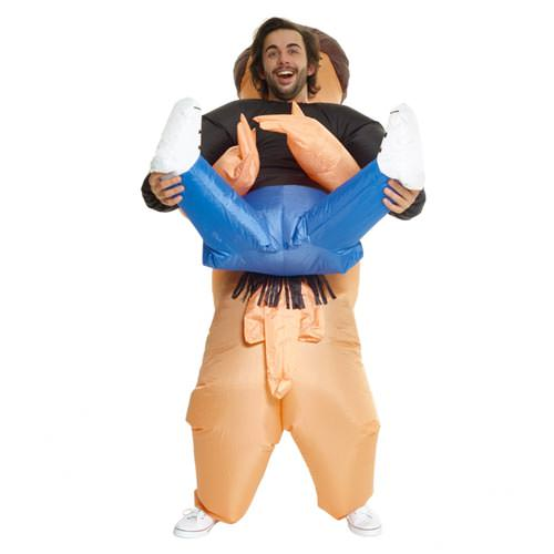 Inflatable man with his legs in the air.